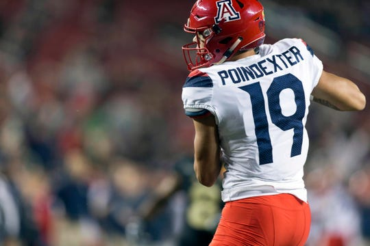 Arizona Wildcats wide receiver Shawn Poindexter (19) catches a pass for the touchdown Purdue Boilermakers during the first half in the 2017 Foster Farms Bowl at Levi's Stadium. Poindexter went to Peoria Centennial High.