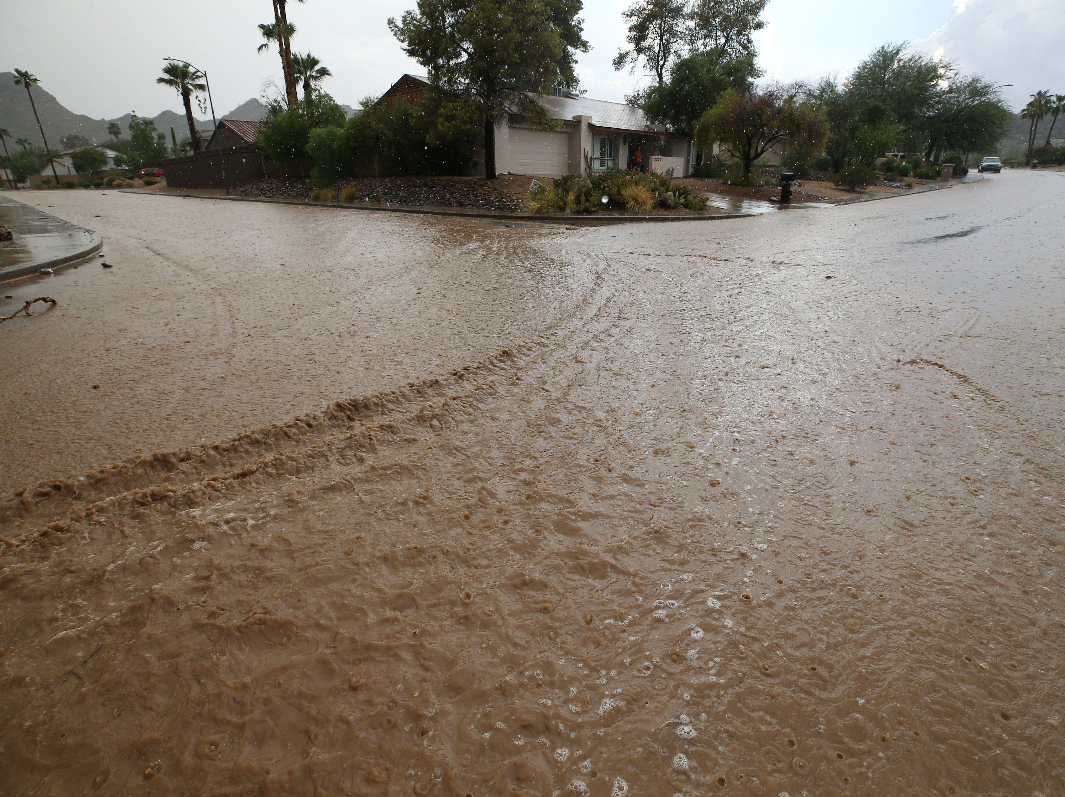 Monsoon storm drops almost two inches of rain on Aug. 23, 2018, in Phoenix.