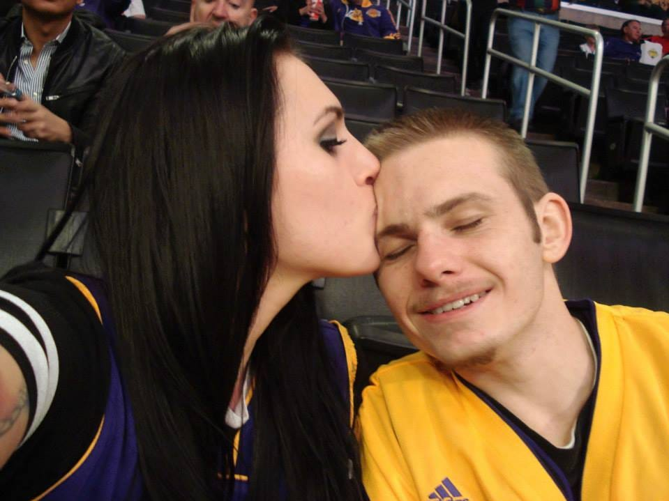 Stefani and Kalin Case at a Los Angeles Lakers game she took him to. He was an avid fan.