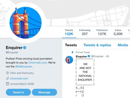 A screenshot of the Cincinnati Enquirer's Twitter page.