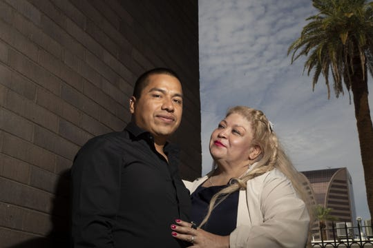 Javier Sanchez Gonzalez is seen with his wife Flor Maria Sanchez Gonzalez in Phoenix. Javier who could benefit from a June Supreme Court decision that found that notices to appear in immigration court that lack a specific time, date or place are invalid.