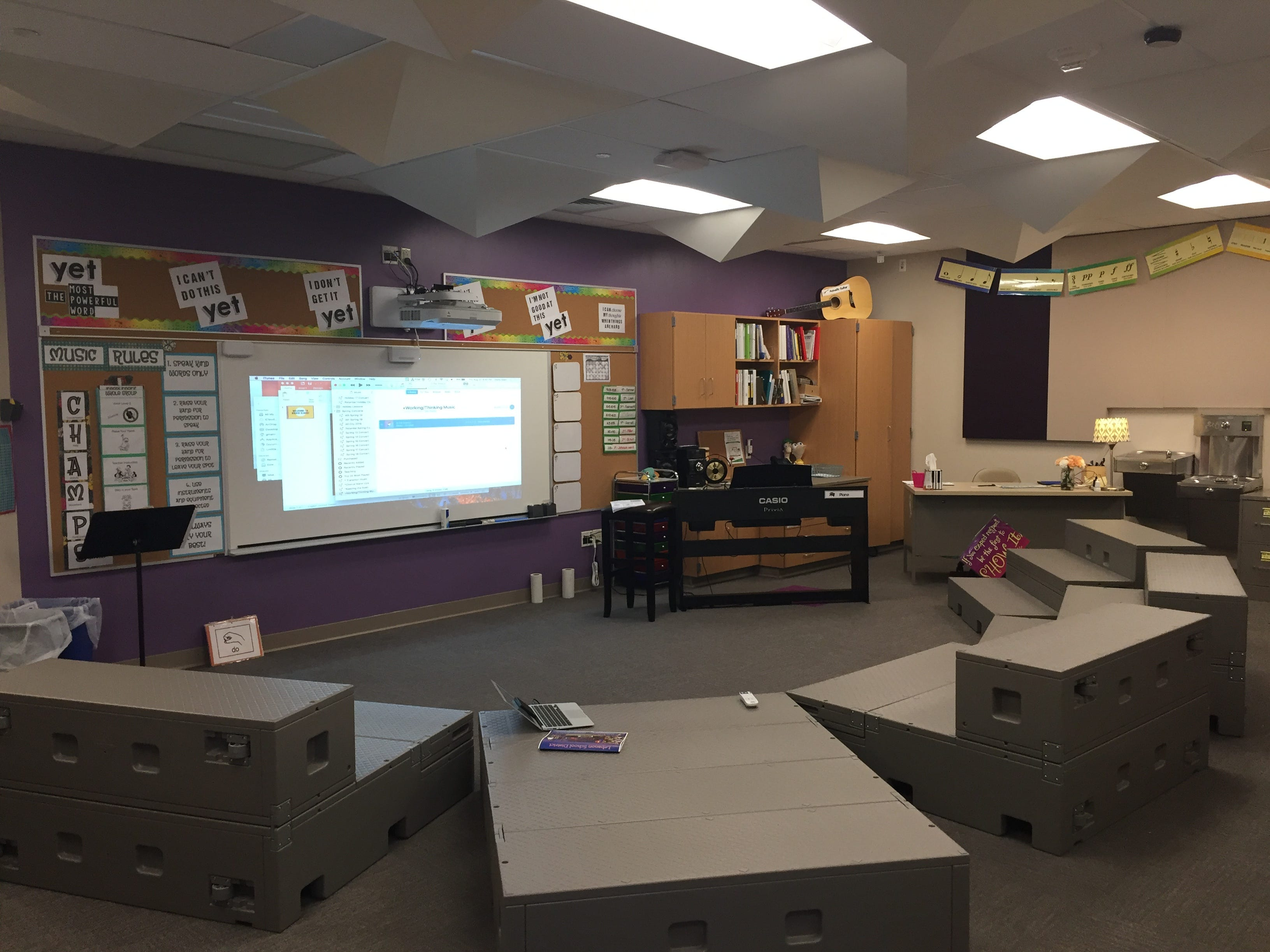 The music room in Lebanon School District's new Northwest Elementary School. The room is soundproofed and designed to reduce echo effects. Seating can be folded into several configurations including benches and a full stage.