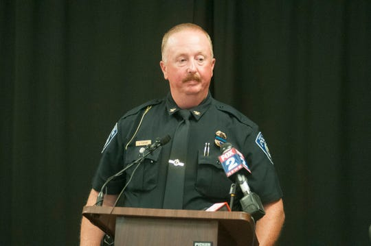 Port Huron Police Chief Joe Platzer responds to questions during a press conference Friday, Aug. 24, 2018, regarding an overnight shooting in Clyde Township that killed an off-duty Port Huron police officer. Port Huron Police Lt. Joel Wood was found dead at the scene.