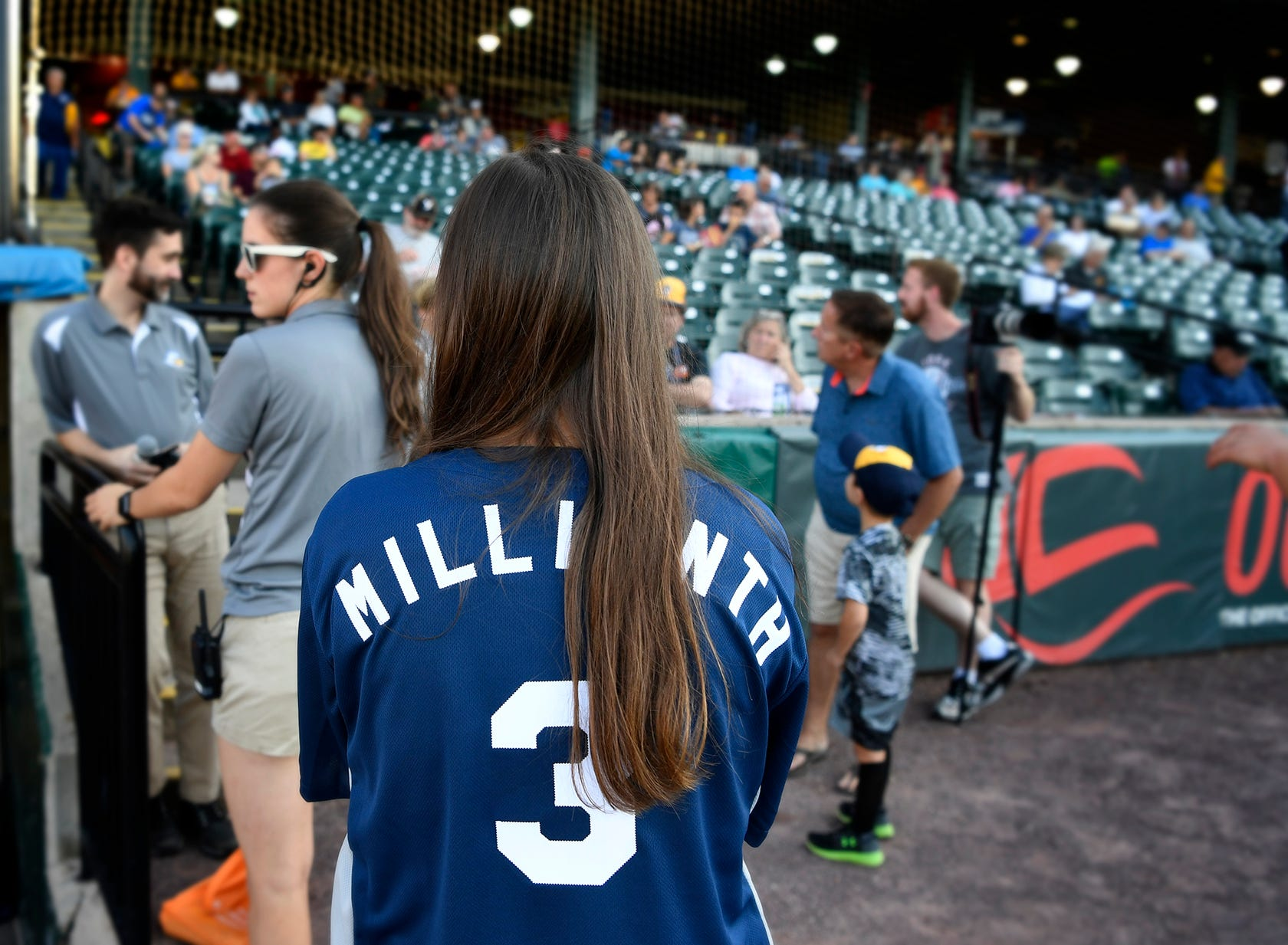 The York Revolution recognizes their 3 millionth fan before their game against Lancaster, Thursday, August 23,  2018.  The lucky fan received a special Revs jersey, a bat signed by the team and two season passes for 2019. John A. Pavoncello photo
