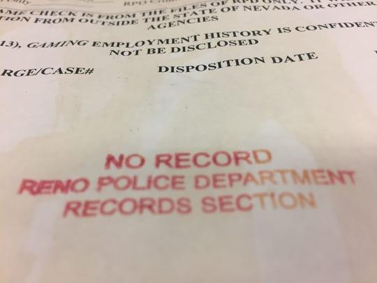 A copy of a Reno Police report.