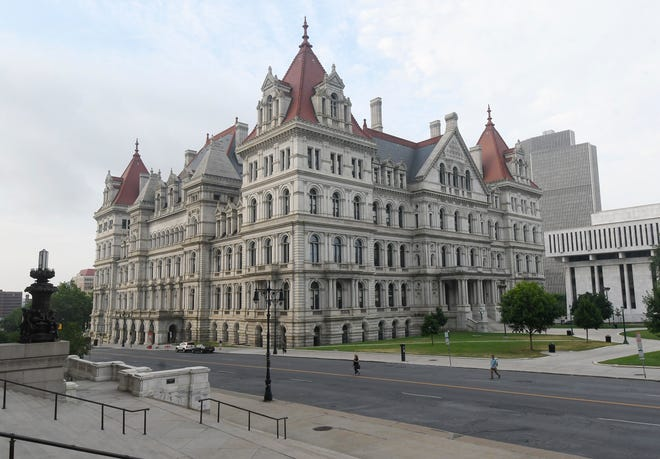 Exterior view of the New York state Capitol as seen from the steps of the New York state Education Department Building Tuesday, July 17, 2018, in Albany, N.Y. (AP Photo/Hans Pennink)