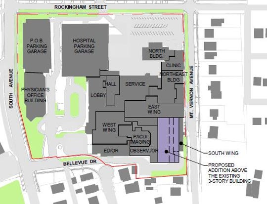 This is a bird's eye view of Highland Hospital with a proposed addition above the three-story building.