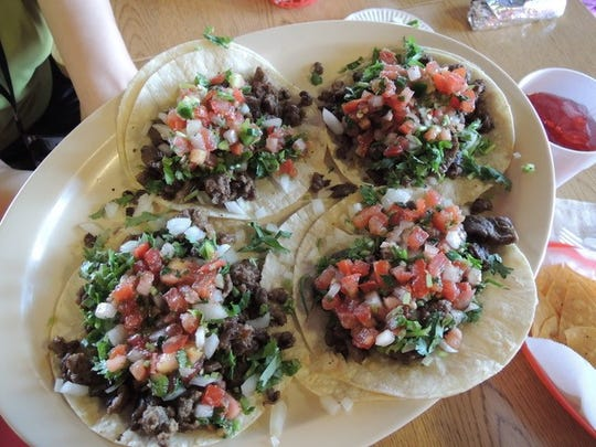 Order of street tacos at El Zarape.