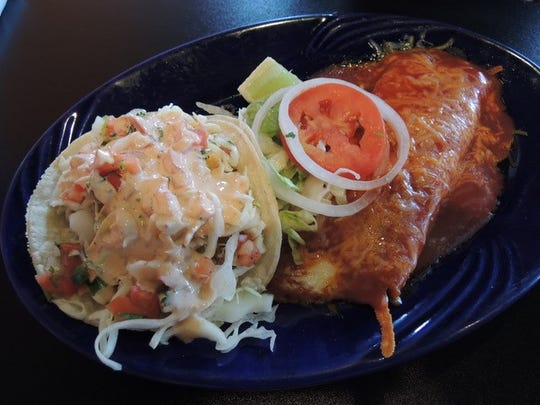A fish taco and an enchilada at El Zarape on Twin View Boulevard in north Redding.