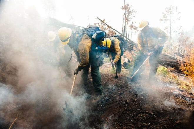 Oregon National Guard members fight the Garner Complex Fire in Southern Oregon in August 2018.