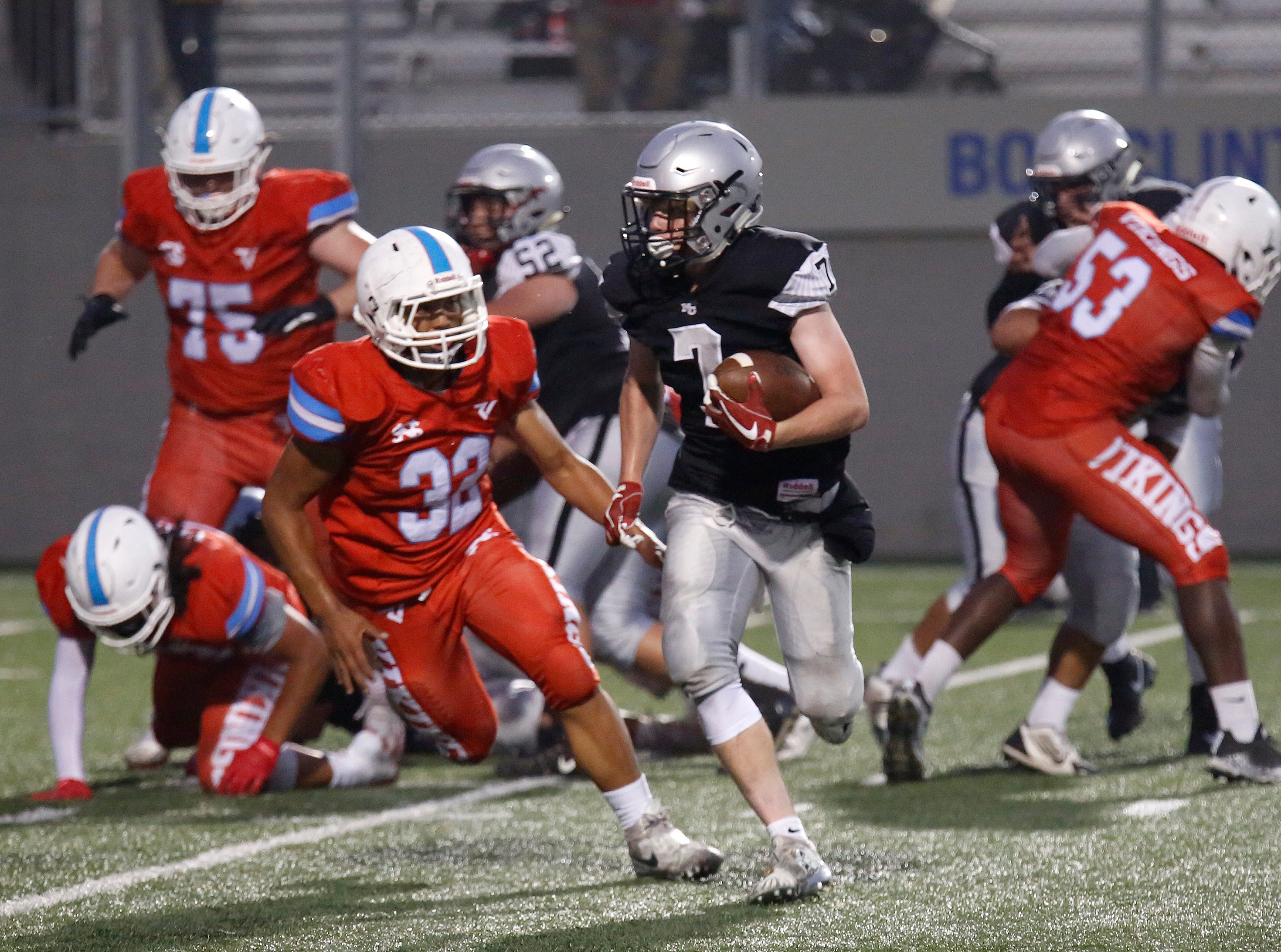 North Monterey County's Riley Anderson runs the ball against North Salinas during football at Rabobank Stadium in Salinas on Thursday August 23, 2018.