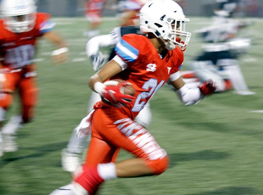 North Salinas's Elijah Washington, scoring a touchdown here against North Monterey County, has made multiple big plays this season for the Vikings and has the chance to make more this Friday against Watsonville.