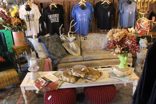 Layout of clothes and other goods sold at Painting Chicks Revival, 2565 Sunset Drive.