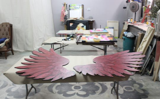 Wings recently painted in the painting room at Painting Chicks Revival, 2565 Sunset Drive.