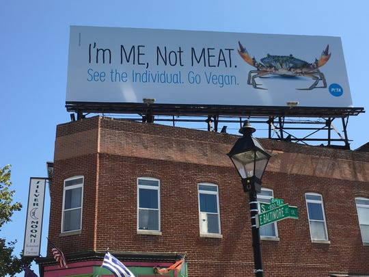 PETA is responsible for this billboard in Baltimore, timed to coincide with the Baltimore Seafood Festival in September.