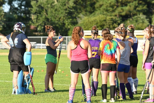 Crisfield Field Hockey Head Coach Hannah Goldsborough, during practice on Thursday, August 24, 2018