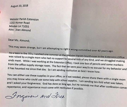 The Webster Parish extension office of the LSU AgCenter received a box of office supplies and a letter asking for forgiveness over taking pens and markers from the office 40 years ago.