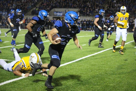 Luke Loudenburg breaks free against Dakota State on Thursday night