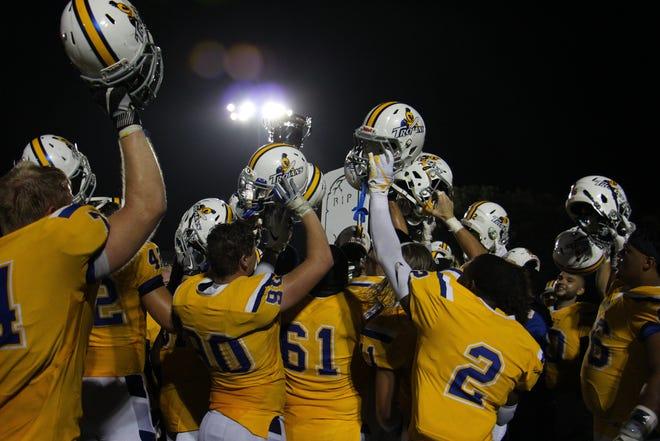 Dakota State players celebrate Thursday's win over Dakota Wesleyan in Mitchell