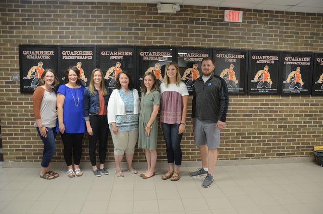 Seven new teachers have joined the Dell Rapids School District this school year. They are, from left to right, Kayla Siemonsma, Shannon Albrecht, Margo Beukelman, Debra Henriksen, Erin Matthiessen, Taylor Trohkimoinen, Brady Lesnar.