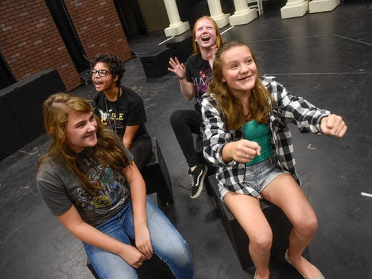"""""""A Day in the Life of Girls"""" cast members rehearse a scene Thursday, Aug. 23, at GREAT Theatre in Waite Park."""