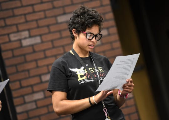 """Liz Krause performs in a scene from  """"A Day in the Life of Girls"""" during rehearsal Thursday, Aug. 23, at GREAT Theatre in Waite Park."""