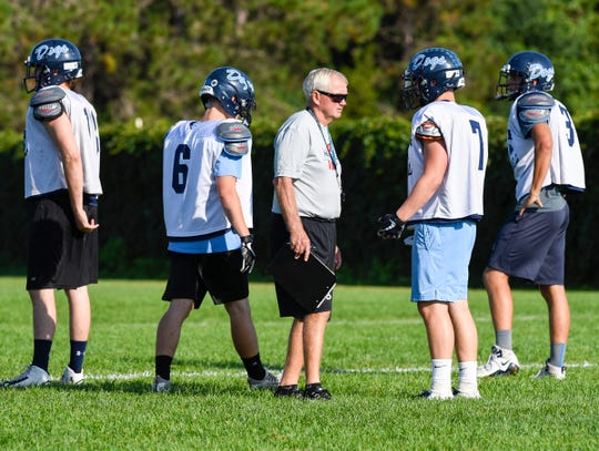 Becker coach Dwight Lundeen talks with players during practice Wednesday, Aug. 22, at Becker High School.