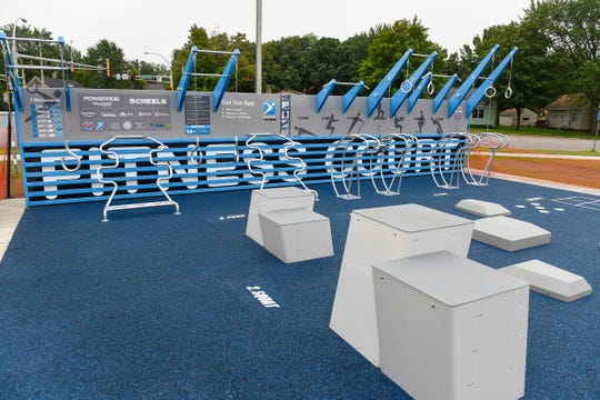 The new Fitness Court located in the  River's Edge Park is shown Friday, Aug. 24, in Waite Park.