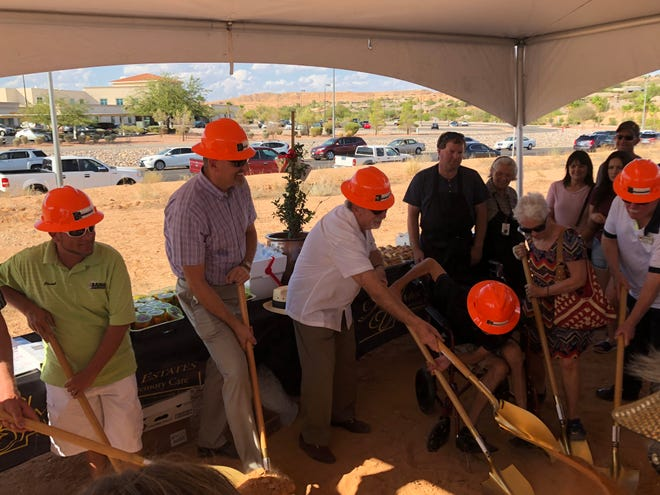Officials from Mission Senior Living and Mesquite break ground on Mesa Valley Estates on Aug. 23, 2018.