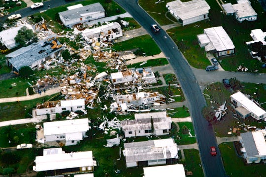 November 16, 1994 - An aerial photograph shows some of the damage and devastation to Barefoot Bay after a tornado sliced through the area as a result of Tropical Storm Gordon. This neighborhood was near the community center.