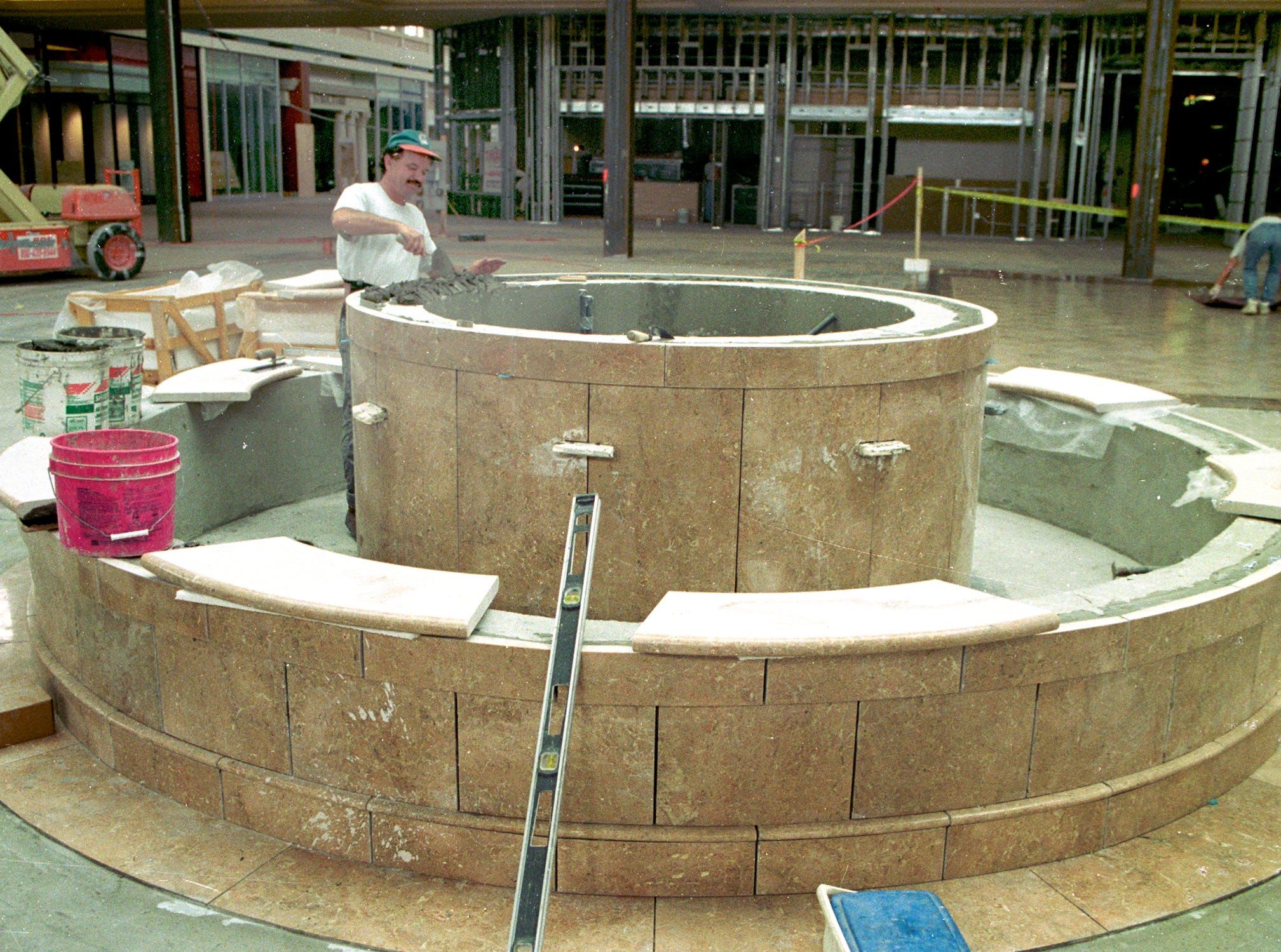 October, 1996 - Pasqual Jimenez of Total Flooring was tasked with continuing to put together the food court fountain at the new Indian River Mall. When the Indian River Mall was finished that year, it was a regional mall built slightly larger than Melbourne Square Mall and the same size as Treasure Coast Square in Jensen Beach.
