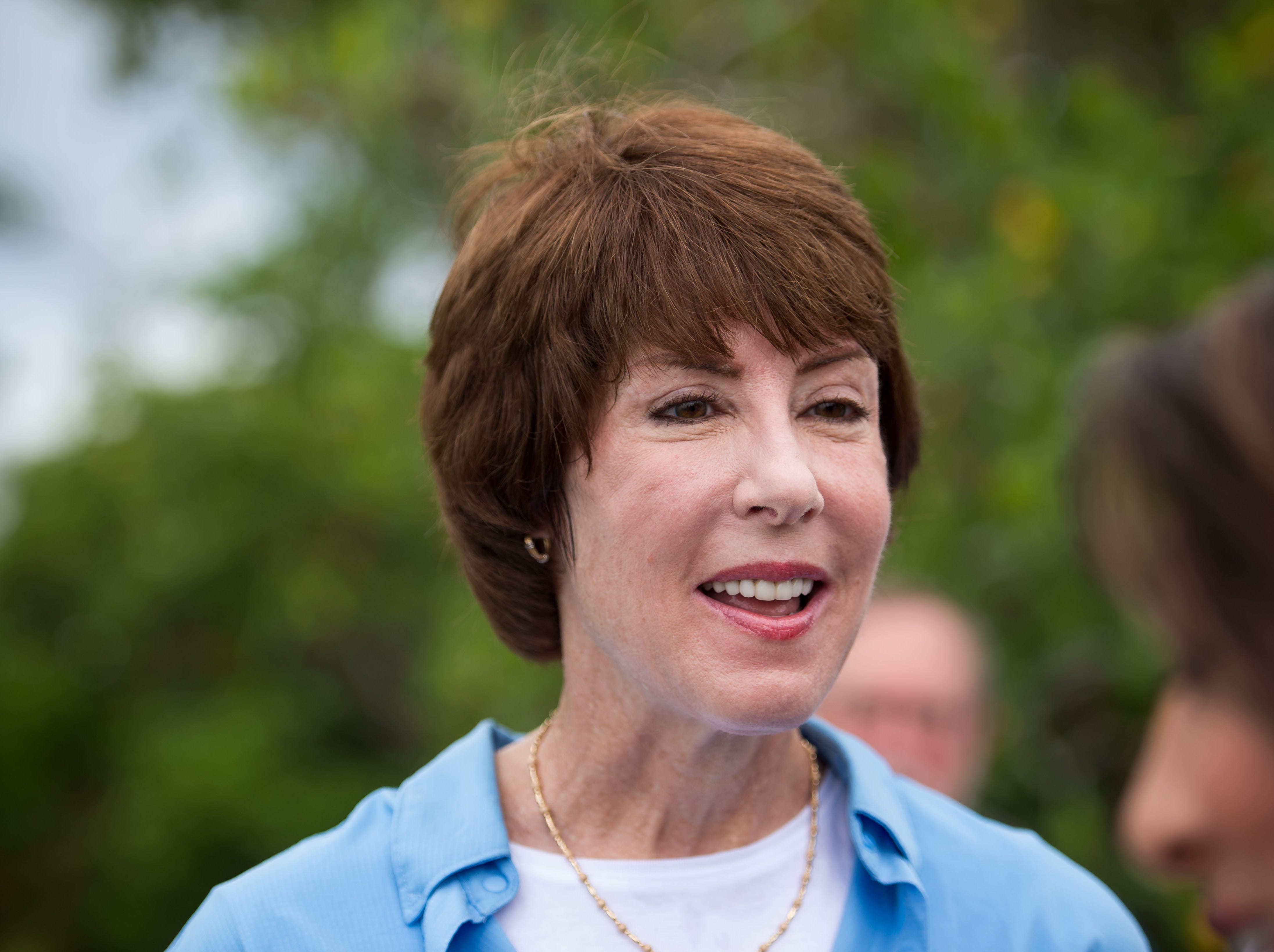Democratic gubernatorial hopeful Gwen Graham visits Shepard Park in Stuart on Friday, Aug. 24, 2018, to speak with Ocean Research & Conservation Association representatives about the harmful effects of blue-green algae in Florida.