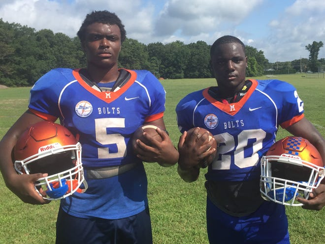 Running backs Tex Thompson, left, and Aahznier Hayes will play key roles for the Millville High School football team this fall.