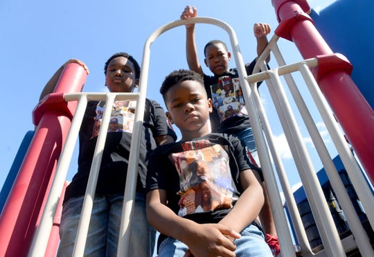 """From left to right, Kaylin """"Kool Kay"""" Patterson, 9, Michael """"Lil' Mike"""" George, 8 and Charles """"CP2"""" Patterson, 11, performed their own rap video speaking out against recent gun violence in Millville."""