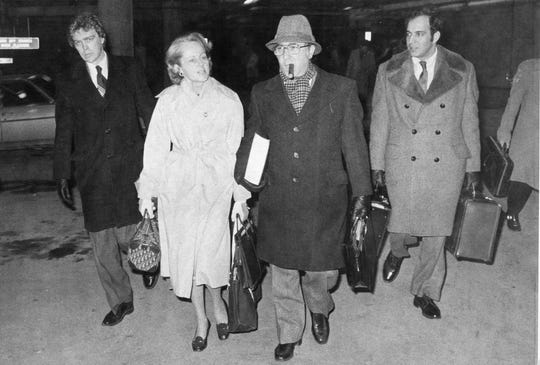 From left, O. Steven Frederickson, Jean Harris, Joel Aurnou and Victor Grossman leave court for the day Feb. 9, 1981. File/The Journal News -  -Text: From left, O. Steven Frederickson, Jean Harris, Joel Aurnou and Victor Grossman leave court for the day Feb. 9, 1981. Jean Harris was on trial for the murder of her lover, Dr. Herman Tarnower, developer of the `` Scarsdale Diet. ààJournal News file photo