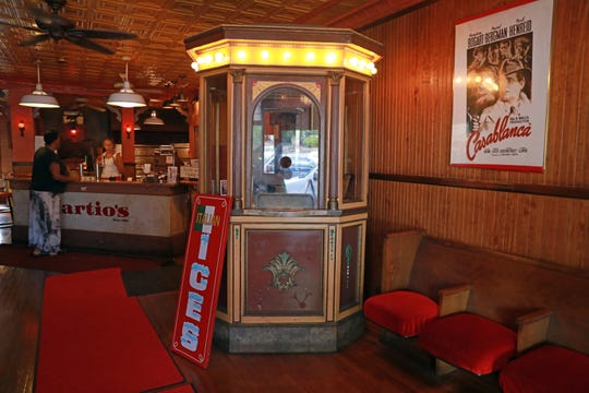 "A ticket booth with theater seating are just a few hidden gems found by founder Frank ""Martio"" Colandrea at Martio's Pizza in Nanuet on Aug. 21, 2018. Colandrea founded the place in 1958 in Spring Valley before moving it to Nanuet in 1975 with his wife Lois, who remains active in the business."