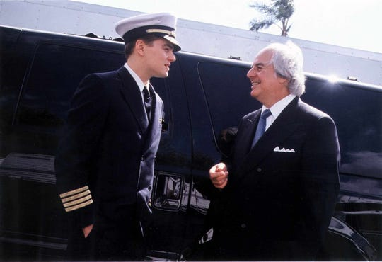"Gannett file photo Leonardo DiCaprio (left) starred as New Rochelle native Frank Abagnale Jr. (right) in the motion picture ""Catch Me if You Can."""