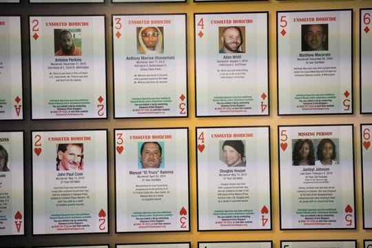 Cold case homicides being investigated by New Castle County police, Delaware State Police and Wilmington police will be featured on playing cards in Delaware prisons.