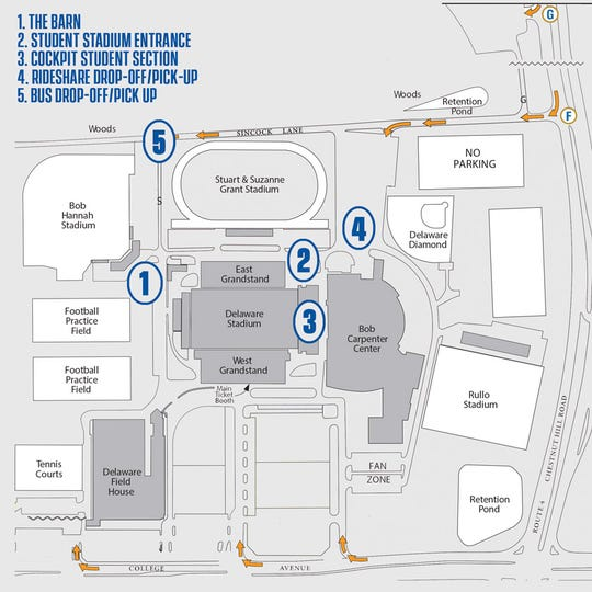 A map shows where the new UD student tailgating area is located along with pickup and drop-off points, a student entrance and a seating area.