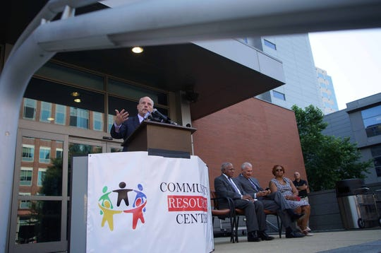 Chief Justice Leo Strine, Jr., speaks about the courts future  Community Resource Center, that will offer offenders better opportunities to succeed,  outside the courthouse on Friday.