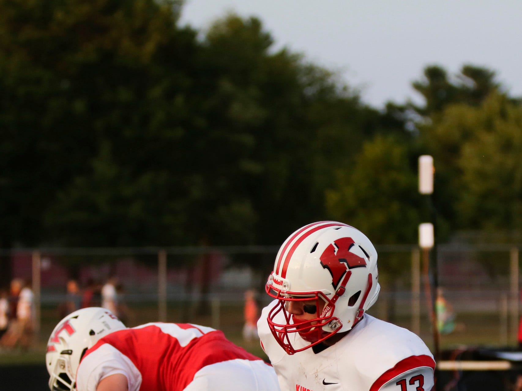 Kimberly's Zach Lechnir (13) scores a touchdown during a game between Wisconsin Rapids and Kimberly at Wisconsin Rapids Lincoln High School Thursday, August 23, 2018.