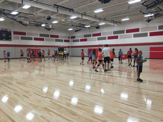Volleyball players enjoy the new gym at Wisconsin Rapids Area Middles School Friday, August 24, 2018.