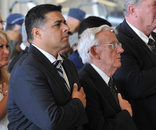 Wichita Falls Mayor Stephen Santellana and Burkburnett Mayor Carl Law were among the distinguished guests during an assumption of command ceremony at Sheppard Air Force Base, Friday morning.