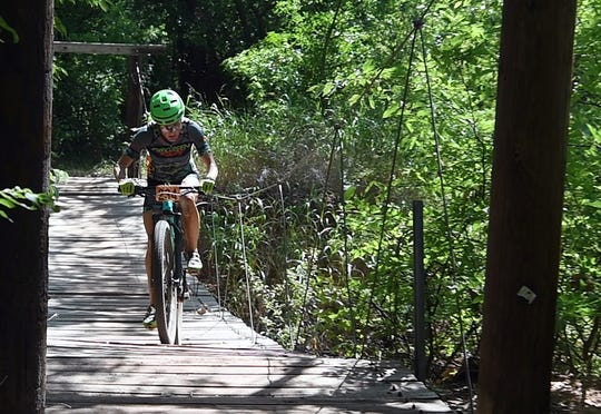 The Hotter'N Hell Hundred Wee-Chi-Tah trail mountain bike races include several elevated platforms and suspension bridges on the route.