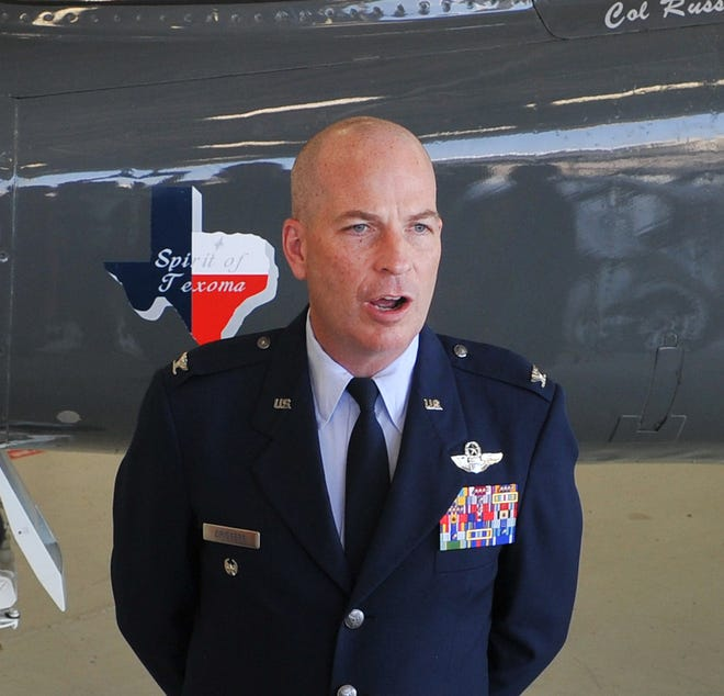 Newly appointed 80th Flying Training Wing Commander, Colonel Russel Driggers is seen Friday after an assumption of command ceremony at Sheppard Air Force Base.