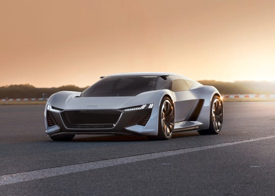 The Audi PB 18 e-tron electric supercar concept.