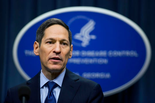 FILE - In this April 1, 2016, file photo, Centers for Disease Control and Prevention Director Dr. Thomas Frieden speaks during a news conference in Atlanta.