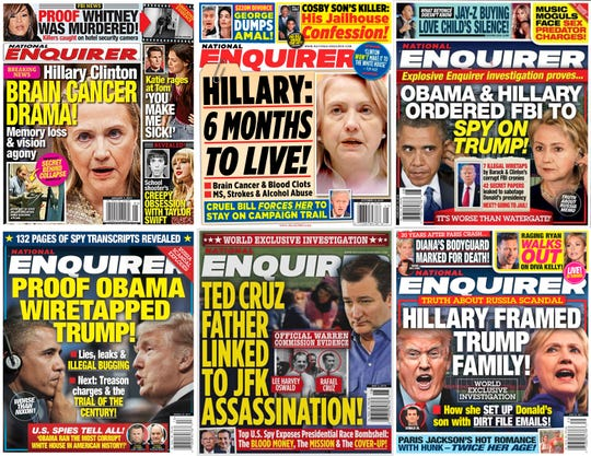 This combination photo shows various covers of the National Enquirer with headlines showing President Donald Trump's opponents in a negative light. Former Enquirer employees who spoke to the Associated Press said negative stories about Trump were dead on arrival dating back more than a decade as part of its cozy relationship with him.