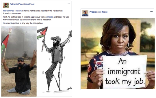 Facebook posts that the company says are from a covert Iranian influence campaign.
