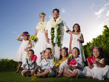 "Jon and Kate Gosselin renewing their wedding vows in Hawaii for ""Jon & Kate plus 8."" Photo by Mark Arbeit, TLC (Via MerlinFTP Drop)"